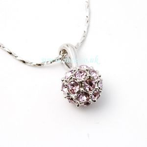 Silver pink crystal globe necklace, (jn93)
